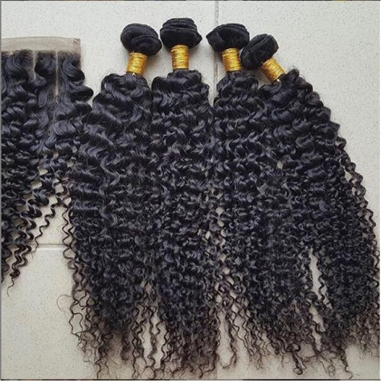 10a grade hair for sale Peruvian 3 Bundles Kinky Curly Hair & Lace Closure