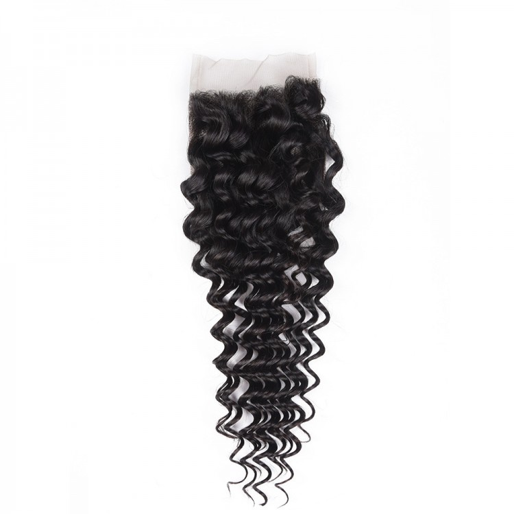 10A Malaysian Human Hair 4*4 Lace Closure Deep Curly