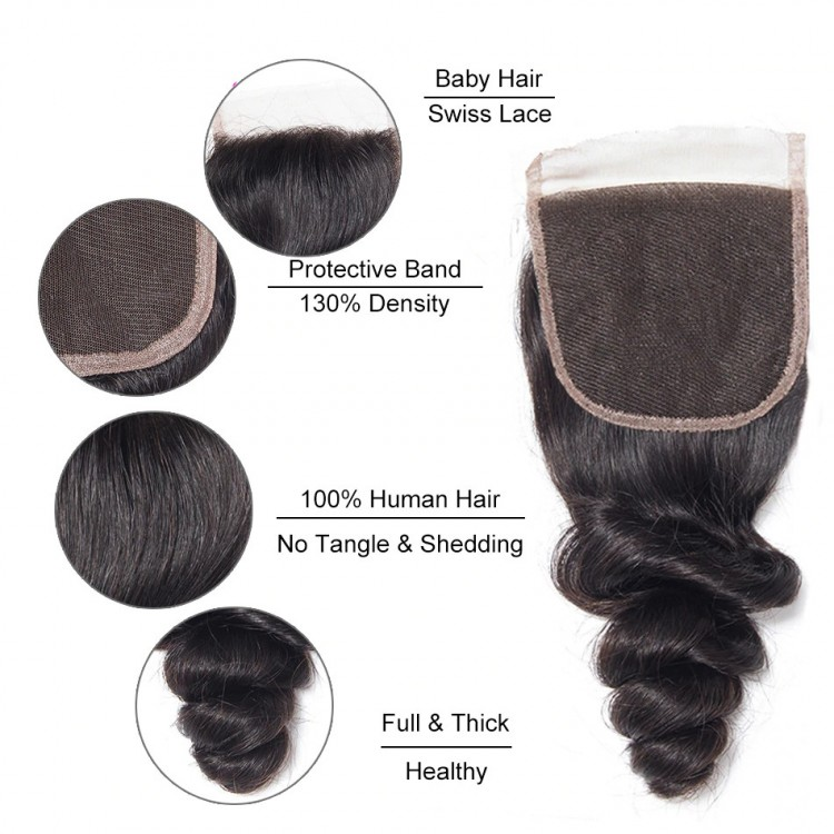 10a brazilian human hair 4*4 Lace Closure Loose Wave