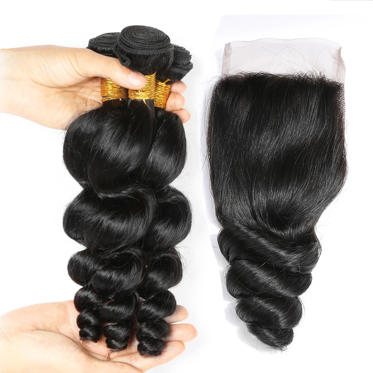 10a grade hair for sale Peruvian 3 bundles Loose Wave Hair & Lace Closure