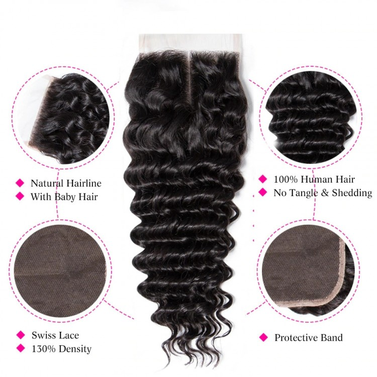 10a brazilian human hair 4*4 Lace Closure Deep Wave